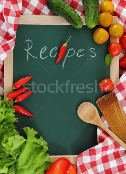 Zöldségek csendélet receptek könyv zöld paradicsom Stock fotó © dashapetrenko