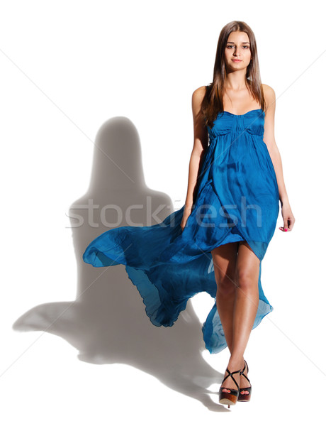 Portrait belle fille longtemps bleu robe belle Photo stock © dashapetrenko