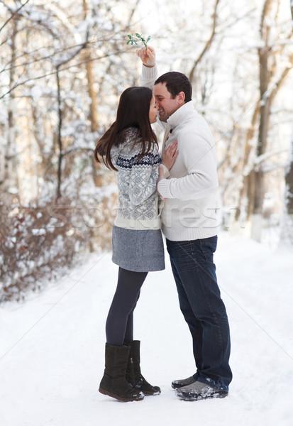 Happy young couple having fun in the winter park Stock photo © dashapetrenko