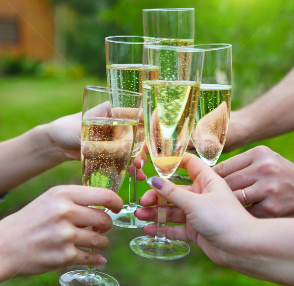 People holding glasses of champagne making a toast outdoors Stock photo © dashapetrenko