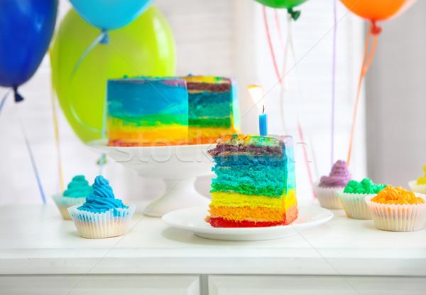 Stockfoto: Regenboog · cake · ingericht · verjaardag · kaars