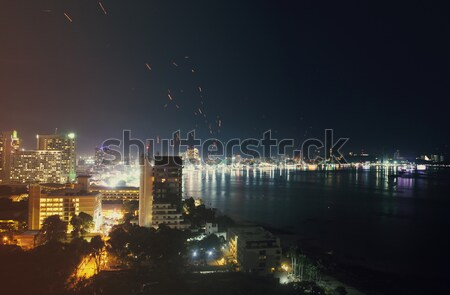 Foto stock: Cidade · mar · crepúsculo · tradicional · festival · céu