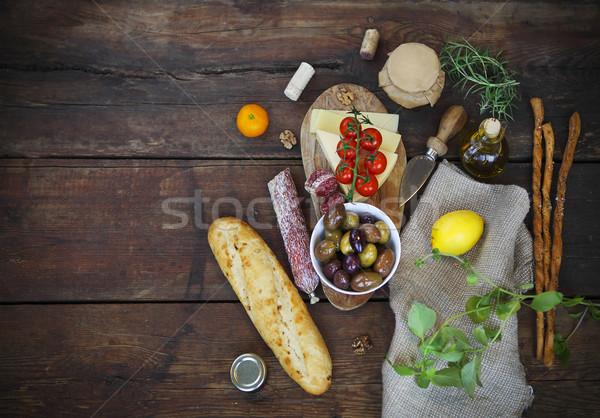 Cucina italiana ingredienti legno top view sfondo Foto d'archivio © dashapetrenko