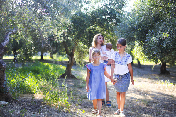 Mother and three children in olive grove Stock photo © dashapetrenko
