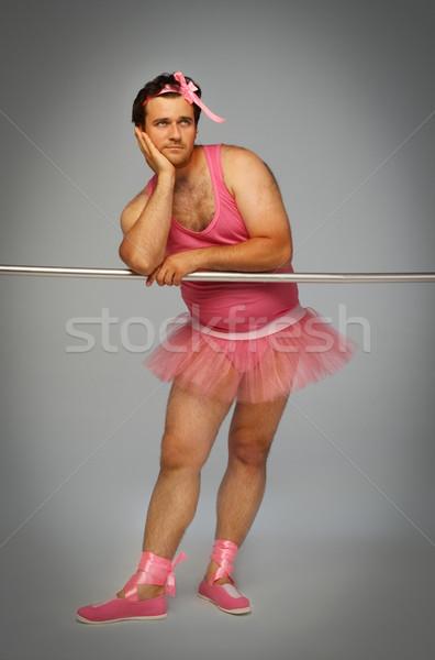 クレイジー バレリーナ 男 着用 スーツ ピンク ストックフォト © dashapetrenko