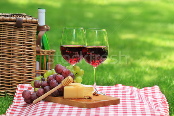 Picnic with red wine Stock photo © dashapetrenko