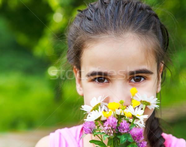 Retrato pequeno sorridente menina flores da primavera buquê Foto stock © dashapetrenko