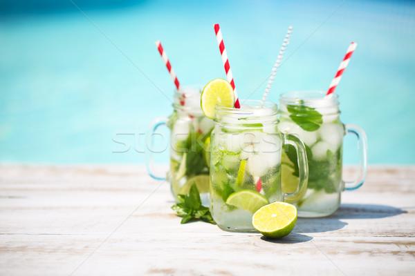 Bril kalk limonade zwembad zomer partij Stockfoto © dashapetrenko