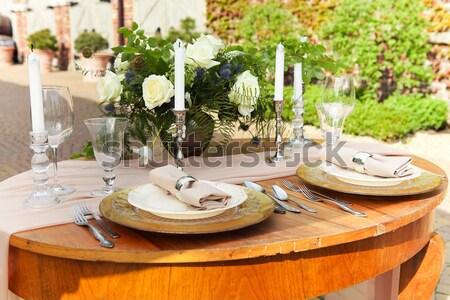 Décoration mariage table cristal fleurs son Photo stock © dashapetrenko