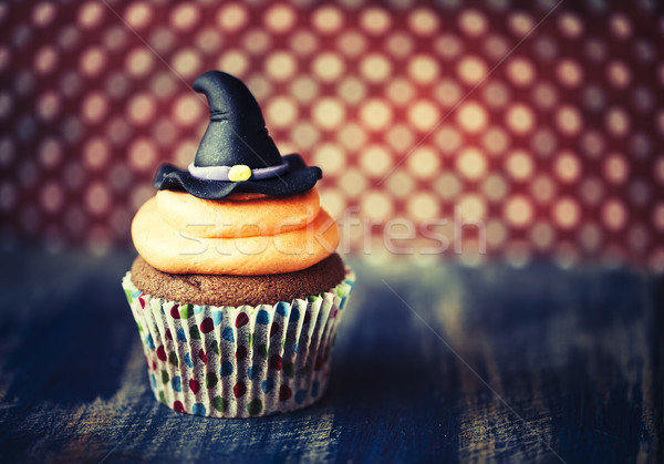 Halloween design cupcake on dark background Stock photo © dashapetrenko