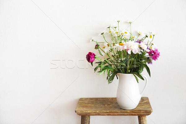 静物 花束 白 花瓶 木製 素朴な ストックフォト © dashapetrenko