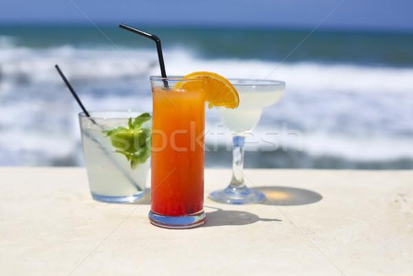 Stock fotó: Koktél · szemüveg · tenger · természet · fény · nyár