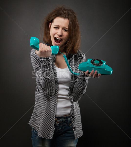 ストックフォト: 肖像 · 面白い · 少女 · 古い · 電話 · 十代の少女
