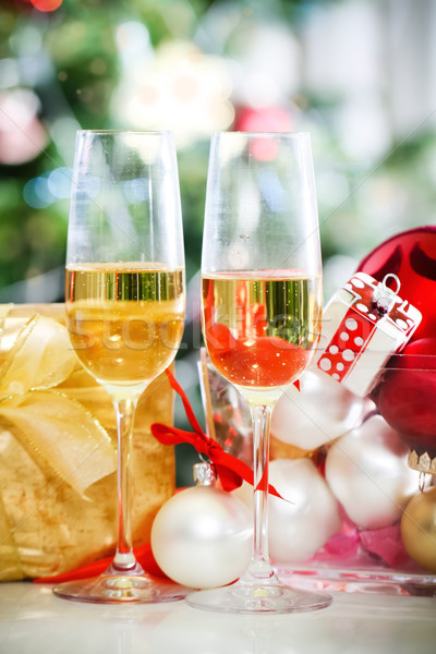 Glasses of champagne and Christmas decorations  Stock photo © dashapetrenko
