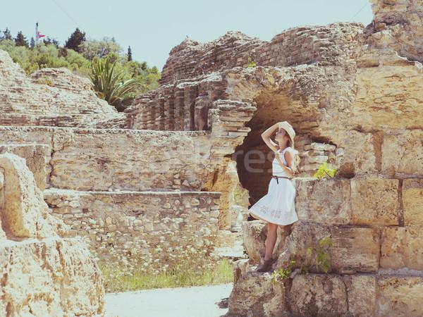 Woman traveler at ancient ruins at Carthage Stock photo © dashapetrenko