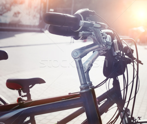 Station of urban bicycles for rent downtown Stock photo © dashapetrenko