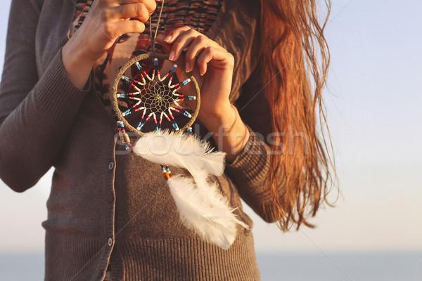 Brunette woman with long hair holding dream catcher  Stock photo © dashapetrenko