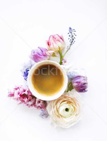 Festive invitation card with beautiful flowers and cup of coffee Stock photo © dashapetrenko