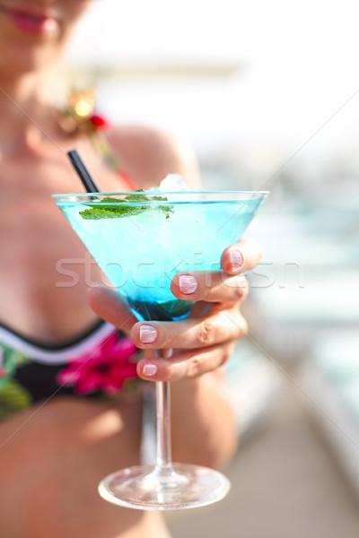 Egzotyczny koktajl szkła strony morza tle Zdjęcia stock © dashapetrenko