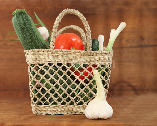 Stock photo: Still life with basket of vegetables