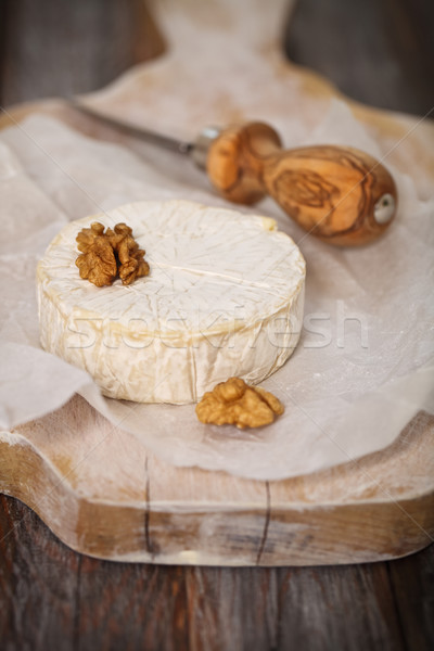 Photo stock: Fromages · noix · confiture · table · en · bois · alimentaire · groupe