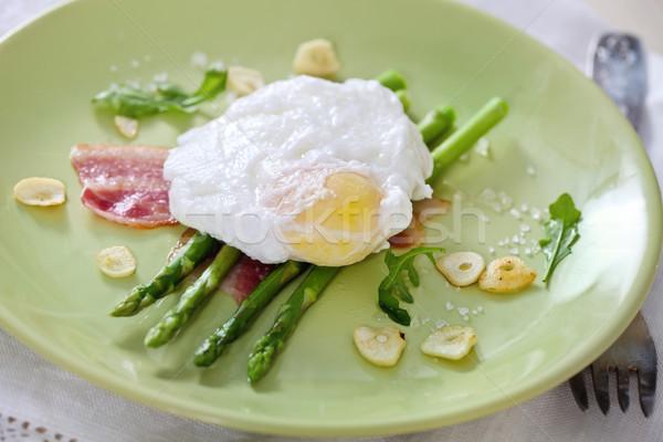 Салат зеленый спаржа яйцо ветчиной продовольствие Сток-фото © dashapetrenko