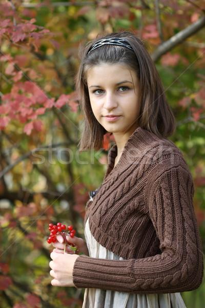 Automne portrait jeune fille forêt sourire lumière Photo stock © dashapetrenko