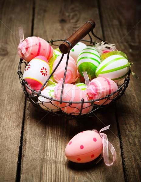 Easter eggs nido basket rustico legno Foto d'archivio © dashapetrenko