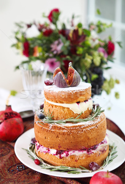 Dessert table for a party. Ombre cake, cupcakes, sweetness and f Stock photo © dashapetrenko