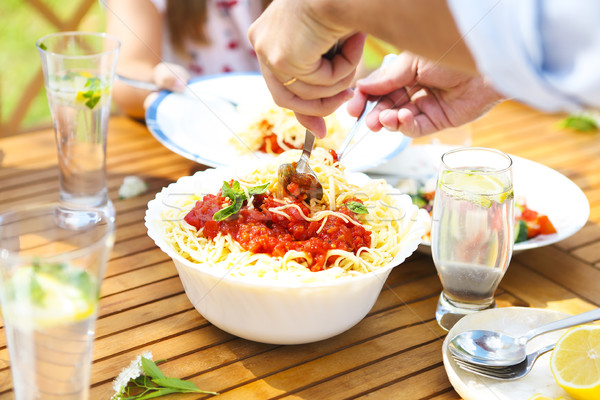 Dinner variety of Italian dishes, snacks on wooden table in the  Stock photo © dashapetrenko