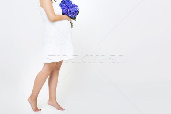 Bella donna incinta bianco donna mani Foto d'archivio © dashapetrenko