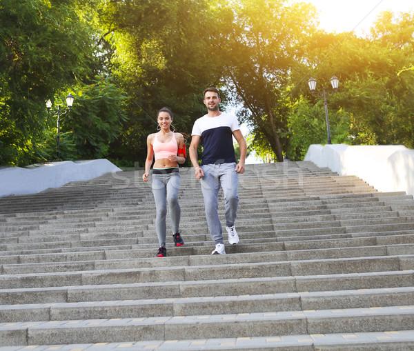 Stok fotoğraf: Insanlar · jogging · dışında · İkincisi · eğitim · açık · havada