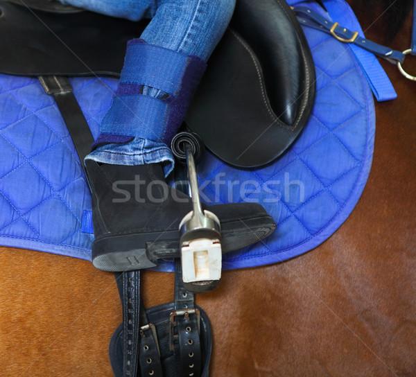 Horseback riding. little girl is riding a horse Stock photo © dashapetrenko