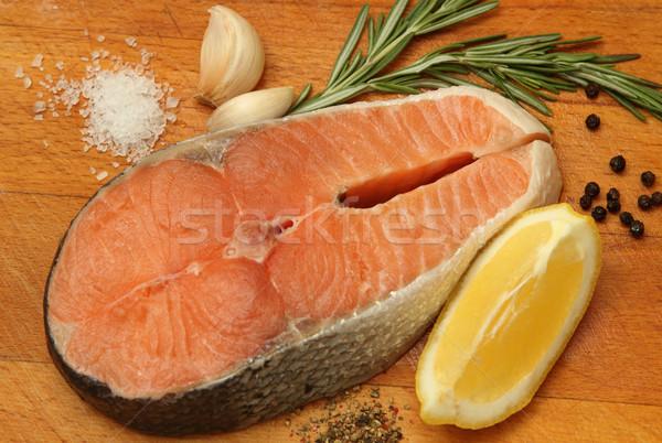 Photo stock: Fraîches · saumon · still · life · alimentaire · vert · pétrolières