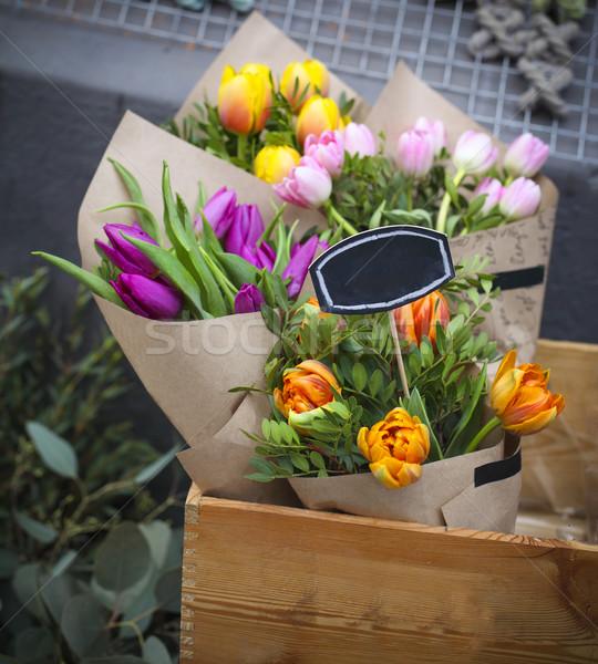 Photo stock: Rose · jaune · orange · tulipes · vente