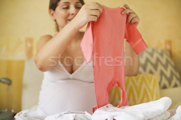 Сток-фото: беременная · женщина · ребенка · одежды · готовый · материнство