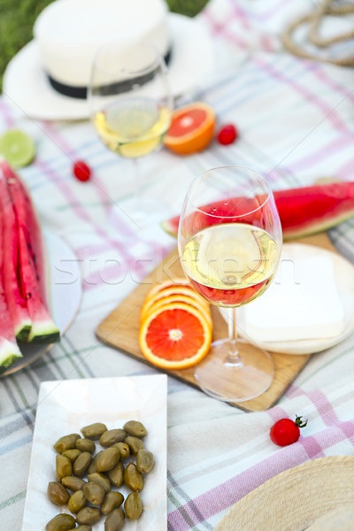 пикника белое вино зеленая трава весны продовольствие Сток-фото © dashapetrenko