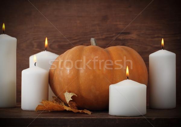 Pumpkin with candels  Stock photo © dashapetrenko