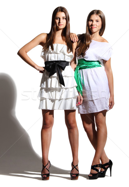 Young girls in white dresses Stock photo © dashapetrenko