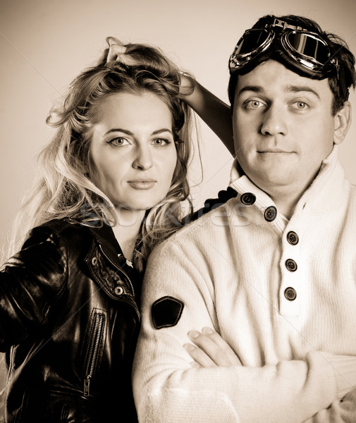 Young couple in retro style clothes  Stock photo © dashapetrenko