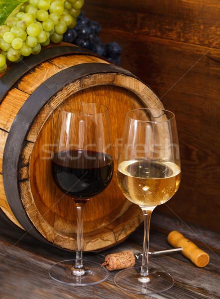 Stockfoto: Stilleven · bril · Rood · witte · wijn · vat · partij