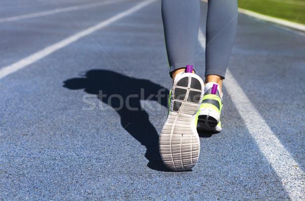 спортсмена Runner ног вниз стадион трек Сток-фото © dashapetrenko
