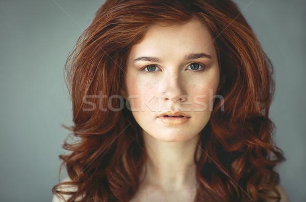 Foto stock: Hermosa · jóvenes · mujer · pecas · retrato