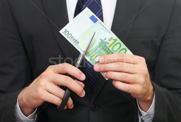Pénzügyi válság üzlet Euro olló iroda kéz Stock fotó © dashapetrenko