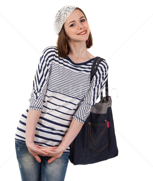 Сток-фото: молодые · Cute · брюнетка · девушки · парижский · стиль