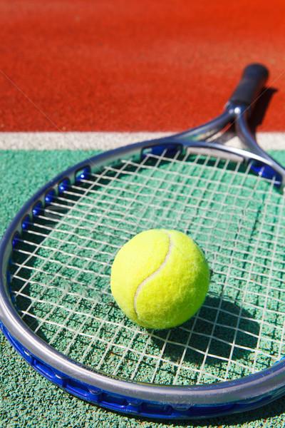 Tenisz labda agyag teniszpálya közelkép egészség Stock fotó © dashapetrenko