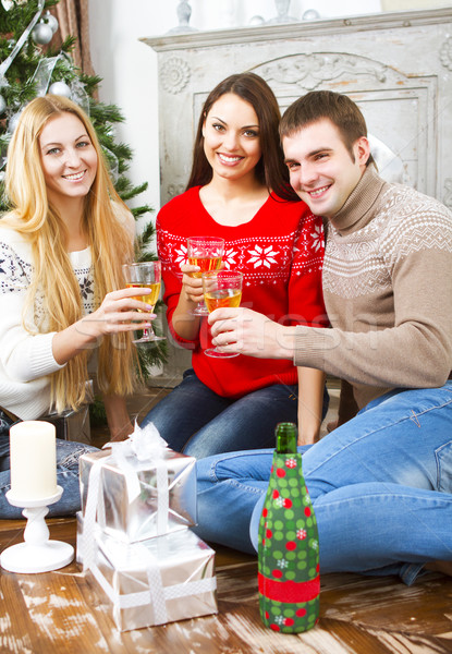 Happy smiling friends drinking champagne by the Cristmas tree Stock photo © dashapetrenko