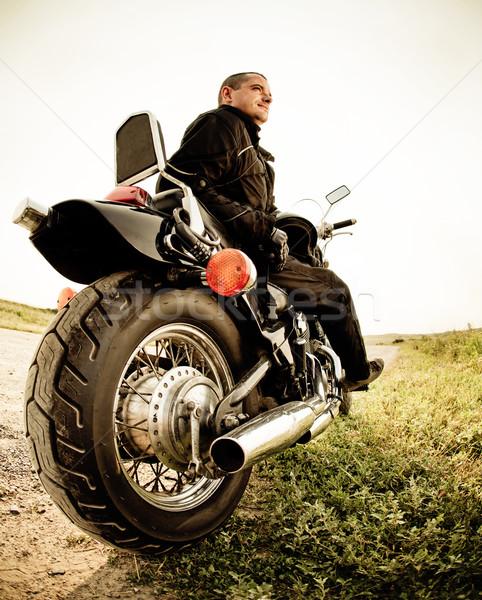 Biker on the country road  Stock photo © dashapetrenko