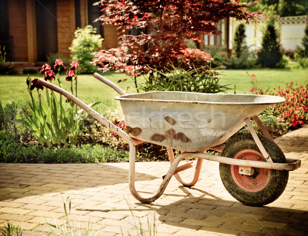 Retro wheelbarrow stored in the garden Stock photo © dashapetrenko