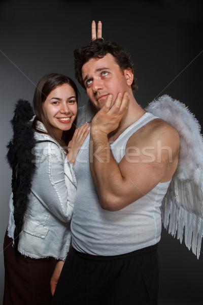 天使 クレイジー 文字 肖像 女性 家族 ストックフォト © dashapetrenko